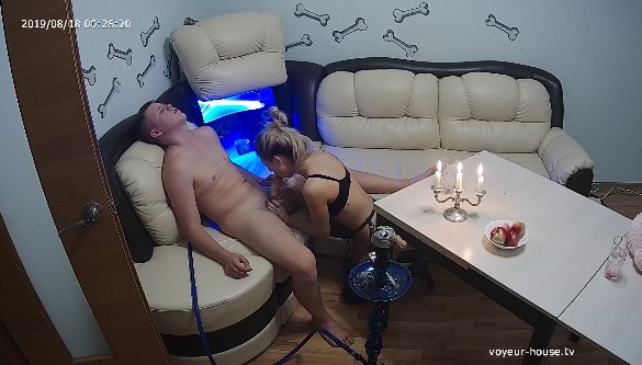 Janice in sexy outfit gives Colin blowjob while having romantic evening, August 18